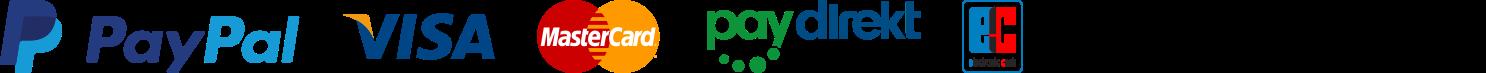 Bequeme Bezahlung per Paypal, Lastschrift, Kauf auf Rechnung, Kreditkarte, Paydirekt, Vorauskasse